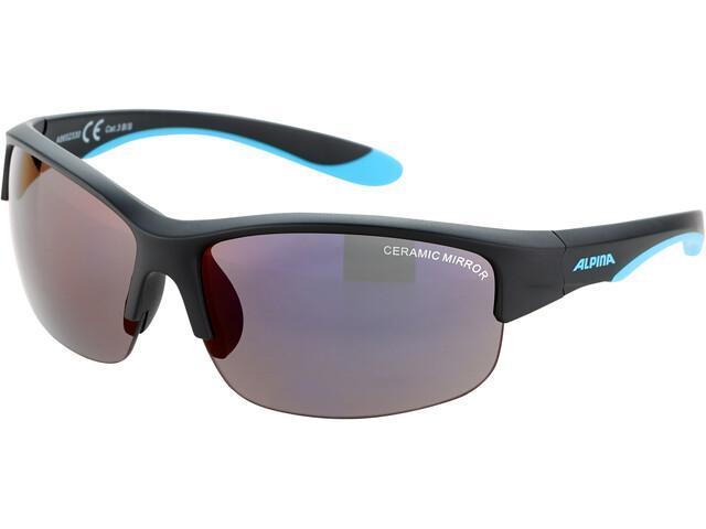 Alpina Flexxy HR Gafas Jóvenes, black matt-blue/blue mirror